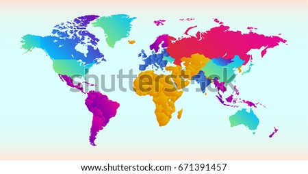 Vector Illustration World Map Different Colored Stock Vector ...