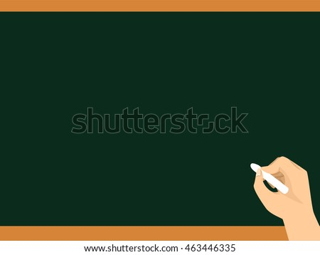 Vector Illustration of Writing hand on Blank Chalkboard