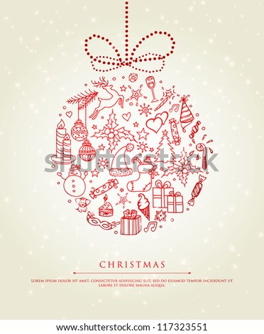 Vector illustration of Xmas doodle ball - stock vector