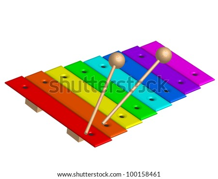 Vector illustration of xylophone - stock vector