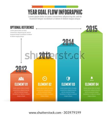 Vector illustration of year goal flow infographic design element. - stock vector
