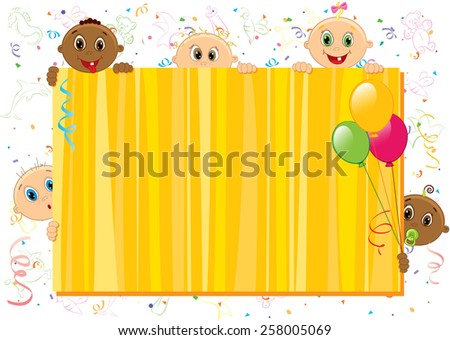 Vector illustration of yellow babies frame. Objects are layered. - stock vector