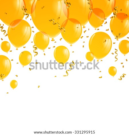 Vector Illustration of Yellow Balloons - stock vector