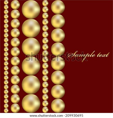 Vector illustration of Yellow beads on a red background