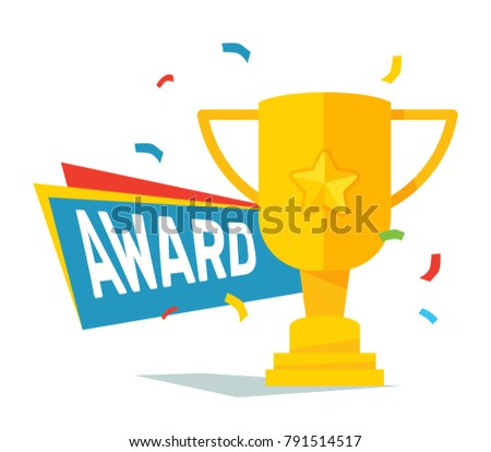 Vector Illustration Of Yellow Big Trophy Cup With Ribbon Star And Shadow On White Background