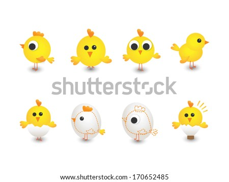 Vector illustration of yellow chickens - stock vector