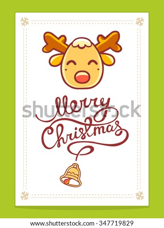 Vector illustration of yellow christmas deer with hand written text on light background. Bright color. Hand draw line art design for poster,flyer,brochure,template and greeting card.  - stock vector