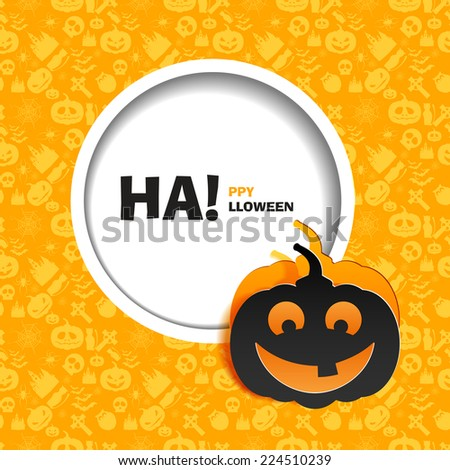 Vector illustration of yellow seamless patterns for a happy Halloween party. Black smile pumpkin paper cut out from the background. Use for brochures, printed materials, banner, greeting, card. - stock vector