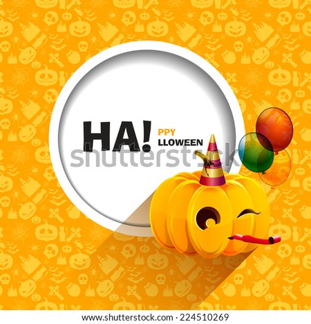Vector illustration of yellow seamless patterns for a happy Halloween party. Merry pumpkin for Halloween with balloons and a festive cap. Use for brochures, printed materials, banner, greeting, card. - stock vector