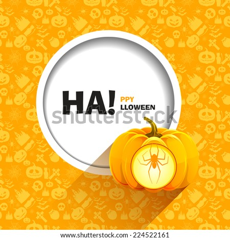 Vector illustration of yellow seamless patterns for a happy Halloween party. Spider carved on a pumpkin for Halloween shining from inside. Use for brochures, printed materials, banner, greeting, card. - stock vector