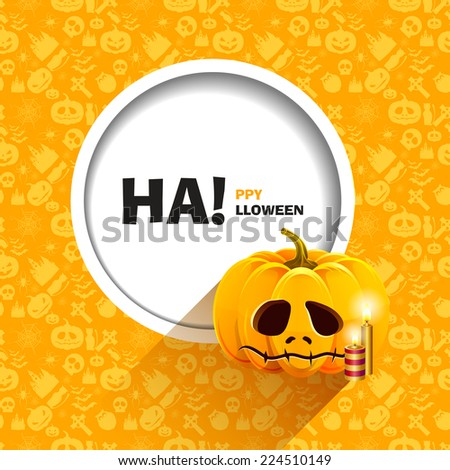 Vector illustration of yellow seamless patterns for a happy Halloween party. Unhappy pumpkin for Halloween with candles. Use for brochures, printed materials, banner, greeting, card. - stock vector
