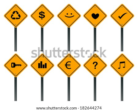 Vector illustration of yellow square road sign with different icon symbols