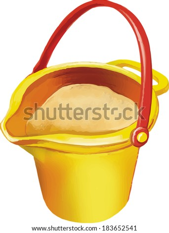 vector illustration of yellow toy bucket with sand - stock vector