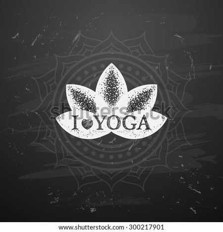 Vector illustration of yoga lotus.  I love yoga - stock vector