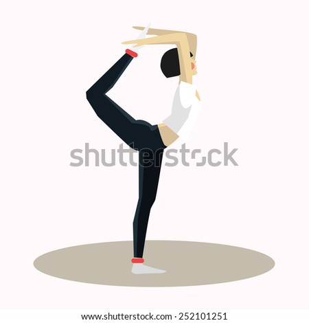 Vector illustration of Yoga pose woman silhouette flat in a modern style vector - stock vector