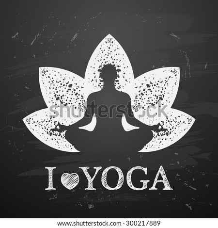 Vector illustration of yoga poses on blackboard background. I love yoga - stock vector