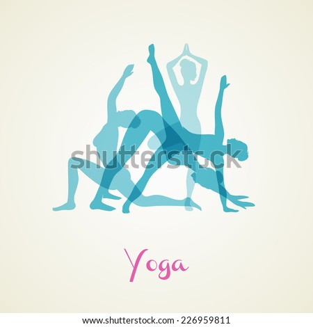 Vector illustration of Yoga poses silhouette set - stock vector