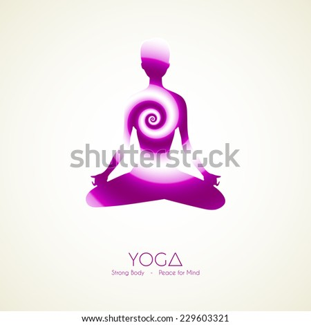 Vector illustration of Yoga poses woman's silhouette - stock vector