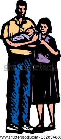 Vector illustration of young couple with new born baby