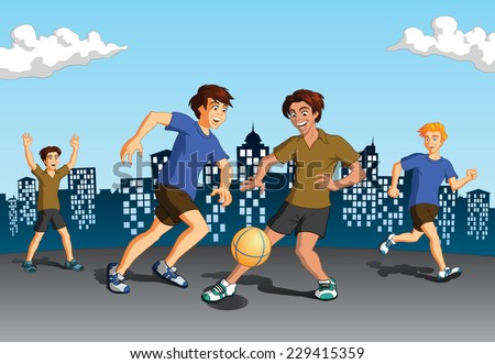 Vector illustration of young energetic boys playing soccer on urban background with silhouette of buildings. - stock vector