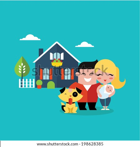vector illustration of young family with a dog - stock vector