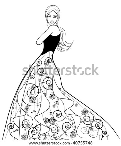 Vector illustration of young fashion model - stock vector