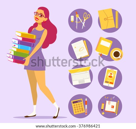 Vector illustration of young girl in dress with pile of books on purple background with set of study icons. Art design for web, site, advertising, banner, poster, flyer, brochure, board, paper print. - stock vector