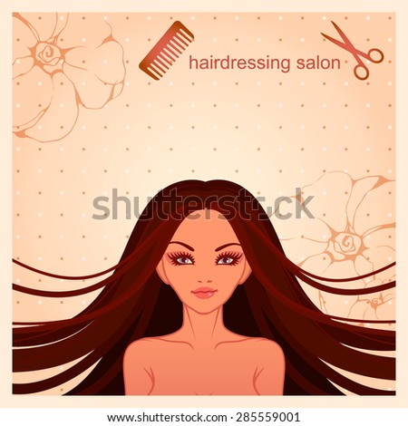 vector illustration of young girl with long black hair for a hairdressing salon - stock vector