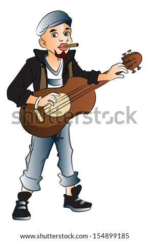 Vector illustration of young rockstar playing guitar and smoking cigarette. - stock vector