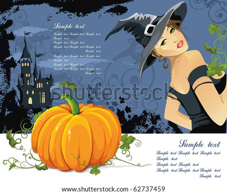 Vector illustration of young witch with pumpkin at Halloween night. Abstract Classical congratulation poster for design with Place for your text. - stock vector