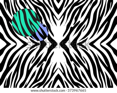 Vector  illustration   of zebra print on white background with  colored spots. Black and white zebra print with colorful spots. - stock vector