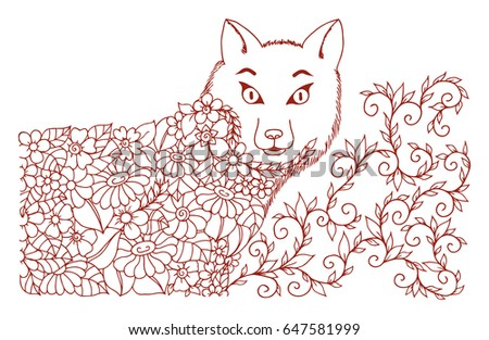 Vector illustration of zentangle drawing foxes of flowers. The work is done manually. Meditative exercises. The book is a coloring book for adults and children. Brown and white.
