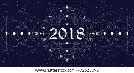 vector illustration of zodiac circle stylized as new year 2018 design with white lines on night sky background