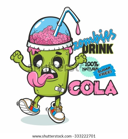 Vector illustration of zombie cup of drink (cola). Original detailed vector illustration with simple gradient. Can be used for T shirt design or for Halloween - stock vector