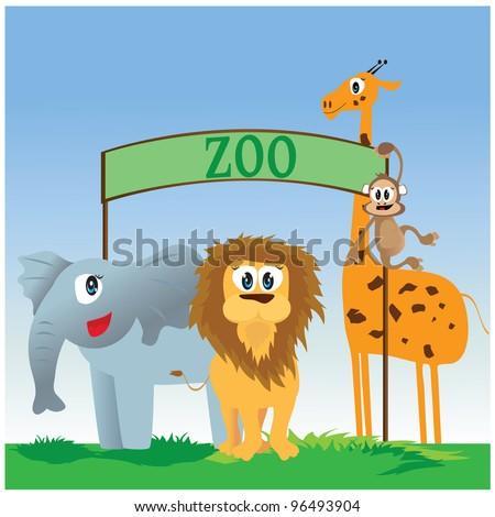 vector illustration of zoo animals - stock vector