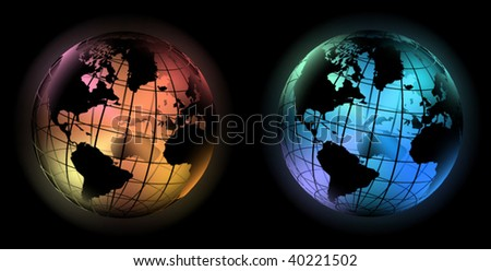 vector illustration off noble glowing world globe in the dark