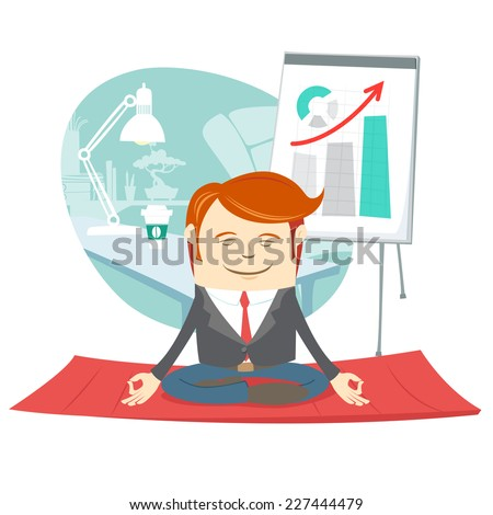 Vector illustration Office hipster man doing yoga pose lotus (meditating) near his workplace - stock vector