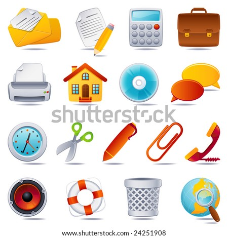 Vector illustration - office icon set - stock vector
