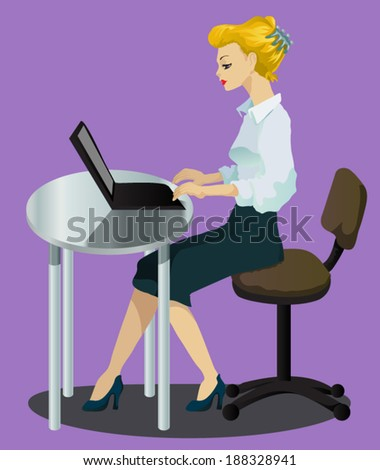 Vector illustration - office lady