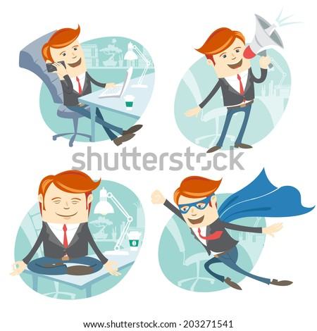 Vector Illustration Office man hipster set: flying super man wearing blue mackintosh, sitting on his desk and doing yoga, phone talking at coffee break, speaking with megaphone - stock vector