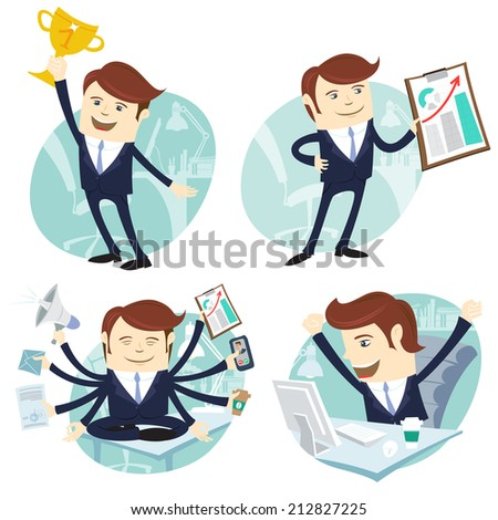 Vector Illustration Office man set: showing a graph, Happy worker at his desk, busy yoga white collar working hard by eight hands, winner with first place golden cup  - stock vector
