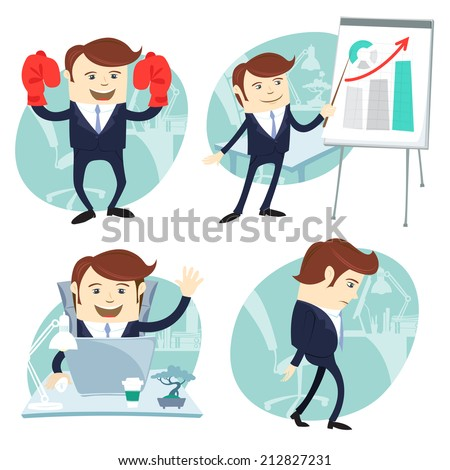 Vector Illustration Office man set: showing a presentation, Happy worker at his desk, busy white collar walking sad , superman with gloves  - stock vector