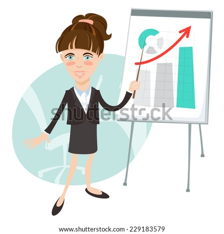 Vector illustration Office woman presenting a graph on flip-chart. Flat style