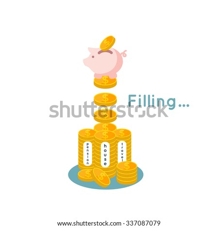 vector illustration ofSaving money flat business concept, filling money with piggy  bank - stock vector