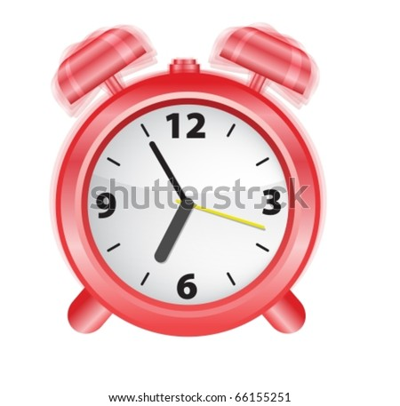 Vector illustration og an alarm-clock ringing at early morning - stock vector