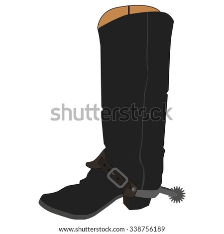 Vector illustration old cowboy boots with spur. Cowboy shoe. Western traditional  footwear. - stock vector