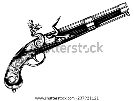 Vector illustration old flintlock pistol - stock vector