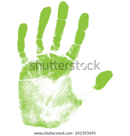 Vector illustration old man green hand print isolated on white background. Created in Adobe Illustrator. Image contains gradients. EPS 10. - stock vector