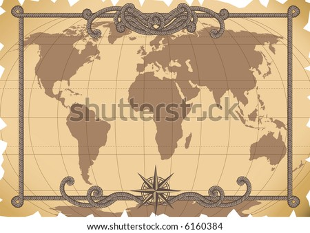 Vector illustration - old map background