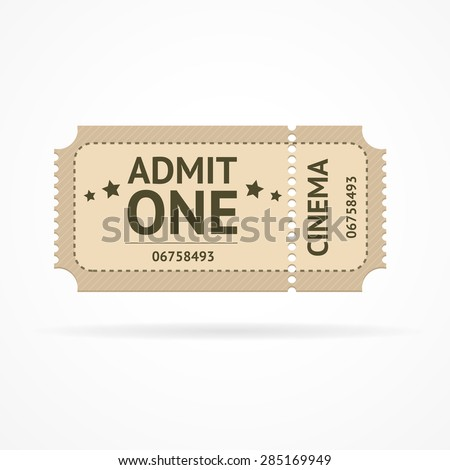 Vector illustration old ticket cinema isolated on a white background. - stock vector